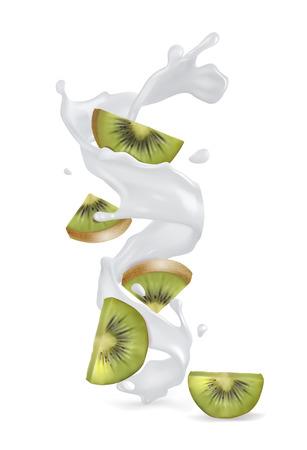 Kiwi fruit with a splash of yogurt or milk. Vector realistic illustration on white background.