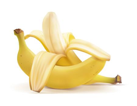 Illustration réaliste de vecteur de bananes. Banane pelée et fruit fermé.
