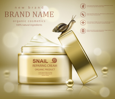 Snail cosmetic packaging design. Vector illustration