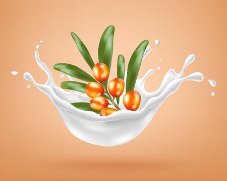 Sea-buckthorn berries and a cream splash. Vector illustration Vector Illustratie