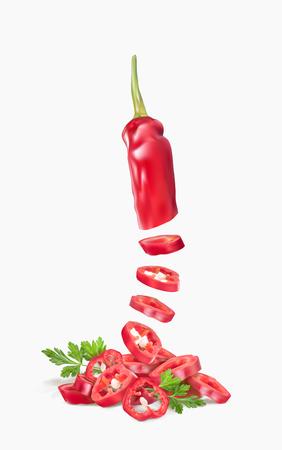 Ilustración de vector pimiento picante con perejil
