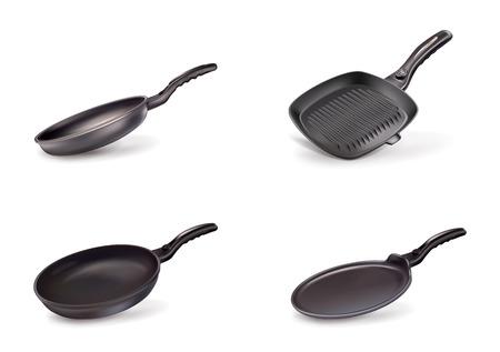 Vector illustration set of pans