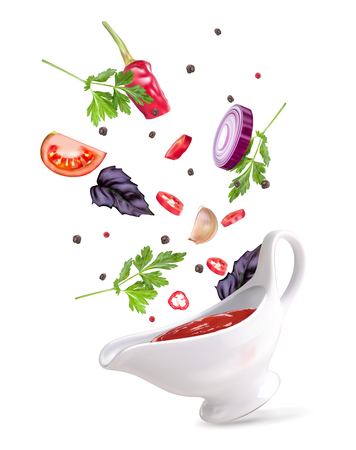 Vector illustration spicy sauce in a sauce-pot with vegetables