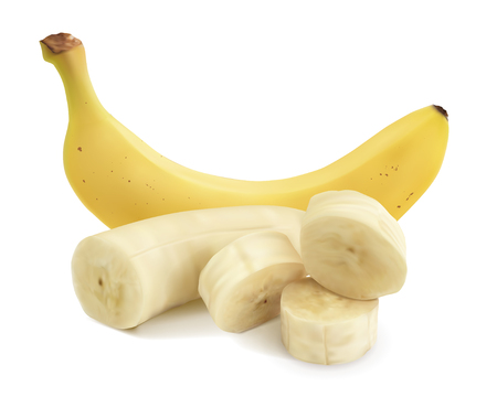Vector realistic illustration of bananas. Whole and sliced ??banana on chunks on a white background.