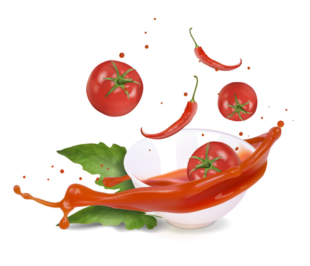 Spicy tomato sauce in a white bowl. Vector realistic illustration.