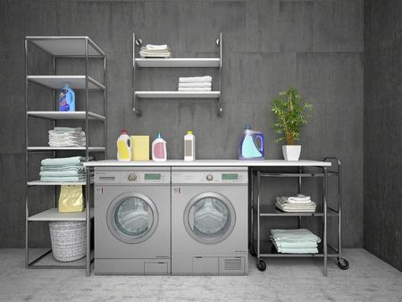 Laundry room design with washing machine loft style. 3d illustration Фото со стока