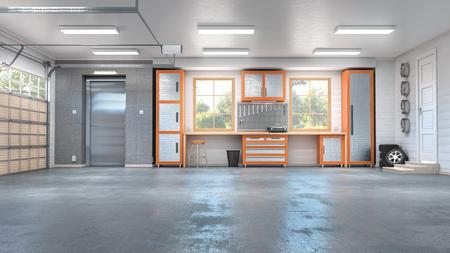 Garage with rolling gate interior. 3d illustration Banque d'images - 123545982