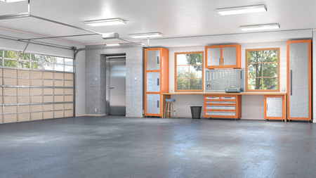 Garage with rolling gate interior. 3d illustration Imagens