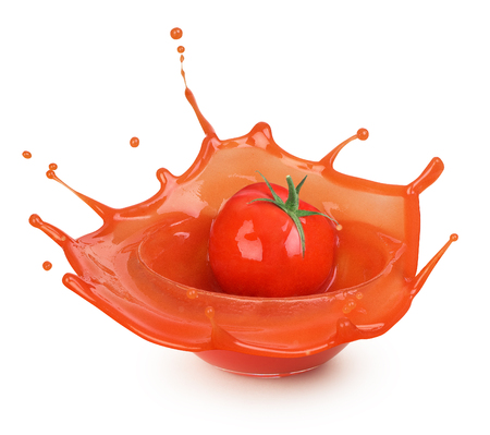 tomato sauce splash in glassware against white background 스톡 콘텐츠