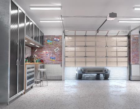 Garage with rolling gate interior. 3d illustration Banque d'images - 123546012