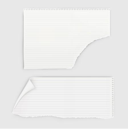 Juego de piezas de papel de cuaderno con perforación redonda.