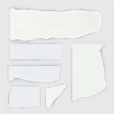 Set of pieces of ripped notebook paper. Imagens - 128241779