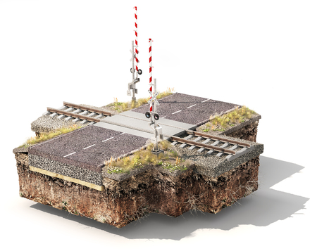 Piece of ground with railroad crossing and road. Can see road layers. 3d illustration