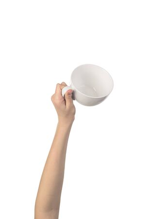 white cup in the womens hand isolated