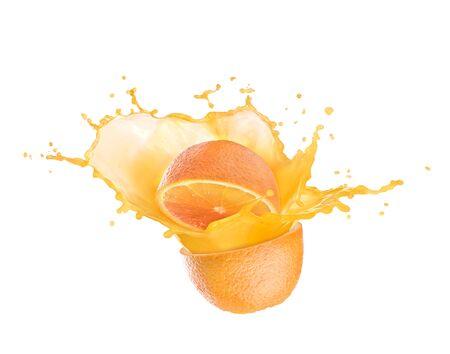 orange juice splash with orange Zdjęcie Seryjne
