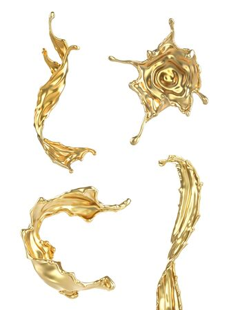 Set of different splashes of gold isolated on a white background. 3d illustration