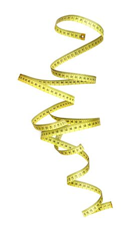 measuring tape rolled up on a white background
