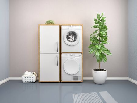 Laundry room design with washing machine. 3d illustration