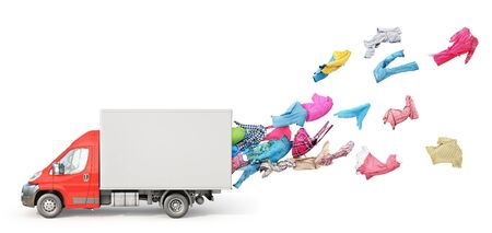 The concept of moving. Clothes are flying out of a cargo van isolated on a white background. Delivery concept