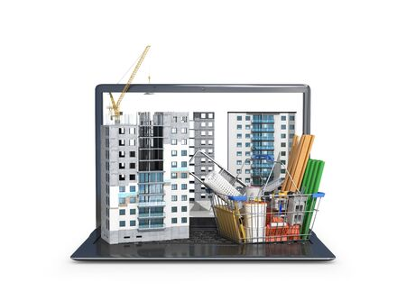 Construction site on the screen of a portable computer, skyscraper building, building materials. 3d illustration
