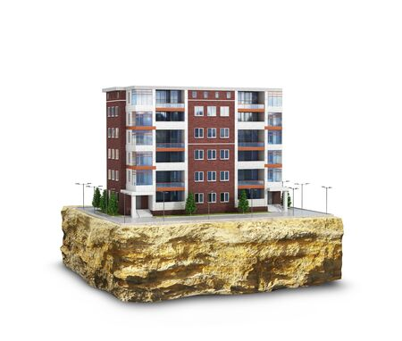 Modern European residential complex on a plot of land. Isolated on white background 3d illustration