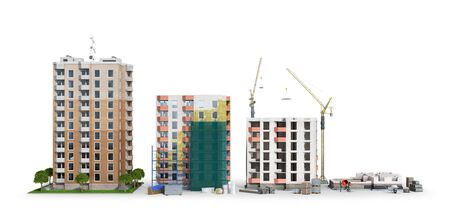 Building. Phased construction of a modern residential complex, isolated on white background. 3D illustration Banco de Imagens