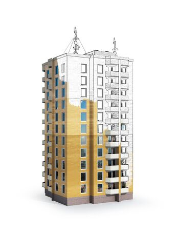 High-rise.  House. 3d illustration Zdjęcie Seryjne