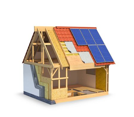 solar panel. Frame house, which shows a scheme for installing hot walls and waterproofing roofs. 3d illustration Archivio Fotografico - 124514911