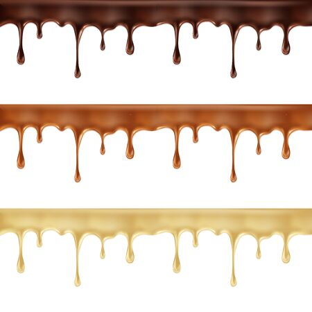 Realistic vector set of melted dark, white and milk chocolate dripping