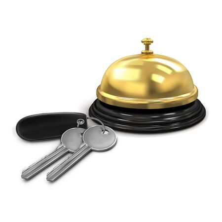 Vector. Mock Up. Two silver keys with a black keychain from the hotel room and hotel service bell gold color. Vector illustration isolated on white background.