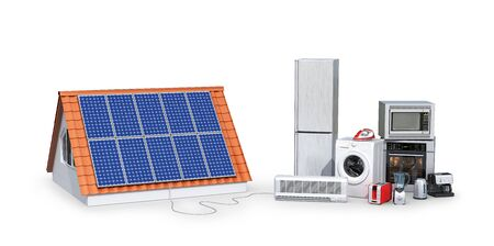 concept of electricity from solar panels. Appliances. 3d illustration Фото со стока
