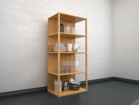 Illustration of 3d kitchen utensils on wooden shelves