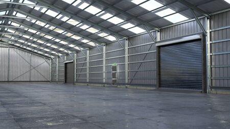 Hangar interior with rolling gates. 3d illustration Foto de archivo