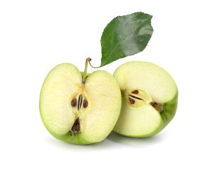 green sliced apple on white background