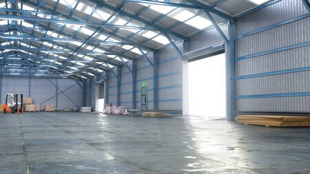 Hangar interior with gate. 3d illustration