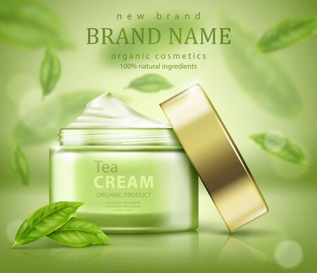 Green tea skin care banner ads with flying leaves