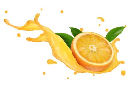 A splash of orange juice or another drink. Half citrus with green leaves. Vector realistic illustration on white background. Çizim
