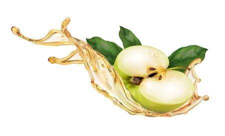 Odrobina świeżego soku jabłkowego. Zielone jabłko przecięte na pół z zielonymi liśćmi. Element projektu opakowania, ulotki, baner. Realistyczne ilustracja wektorowa na białym tle.