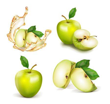 Satz grüner Apfel. Ein ganzer Apfel halbieren und in Scheiben schneiden. Ein Spritzer Saft oder Nektar. Realistische Vektorgrafik des Vektors lokalisiert auf weißem Hintergrund.