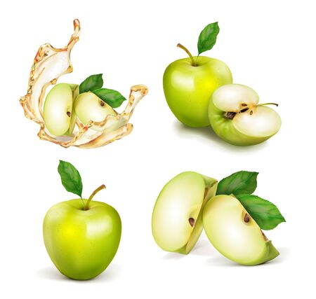 Set of green apple. A whole apple cut in half and slices. A splash of juice or nectar. Vector realistic illustration isolated on white background.