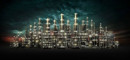 Night scene of an oil refinery. Ecology pollution. 3d illustration