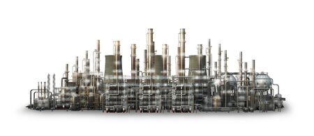 Oil refining industry and petrochemical plant, isolated on white background. 3d illustration