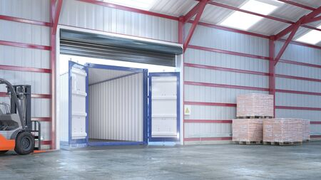 Hangar interior with open gate. 3d illustration Stockfoto