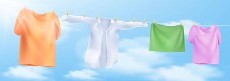 Laver les vêtements sur une corde avec des pinces à linge. Illustration vectorielle