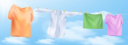 Wash clothes on a rope with clothespins. Vector illustration Illustration