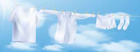 Wash clothes on a rope with clothespins. Vector illustration Ilustração