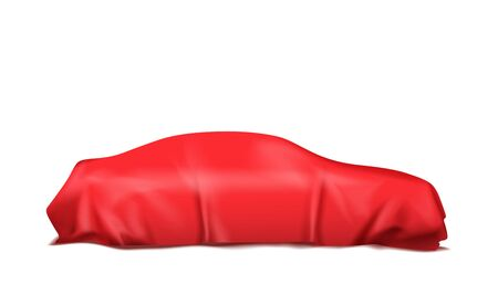 Car covered with red silk isolated on white background. Vector illustration Ilustracje wektorowe