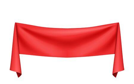 Red silk cloth. Vector illustration