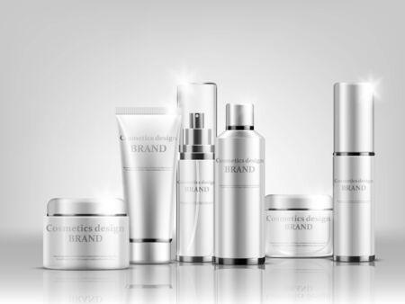 Vektor-Illustration von Kosmetikflaschen-Mock-up-Set isolierte Pakete auf grauem Hintergrund Vektorgrafik