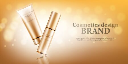 Gold cosmetic bottles mockup on a gold background, vector illustration